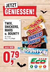 Twix, Snickers, Mars od. Bounty EUR 0,79